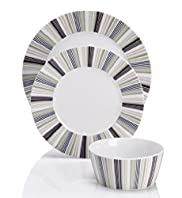 12 Piece Clevedon Striped Dinner Set