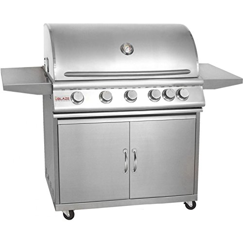 Blaze Blz-5-Lp 40 Inch 5-Burner Built-In Propane Gas Grill With Rear Infrared Burner And Grill Cart