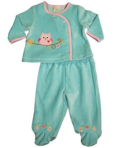 Happi By Dena - Baby Girls 2 Piece Velour Pant Set, Turquoise 34843-0-3Months