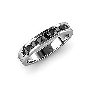 Black Diamond 9 Stone Wedding Band 0.38 ct tw in 14K White Gold.size 6.0