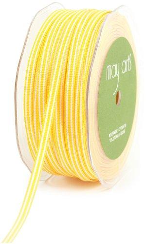 May Arts 3/16-Inch Wide Ribbon, Yellow Grosgrain Stripe