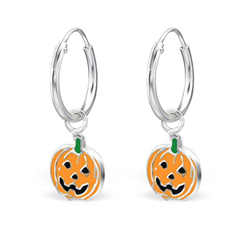 Sterling Silver Hoop Earrings Halloween Pumpkin for Girls