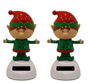 Set of 2 Solar Powered Dancing Christmas Elves (Elf)
