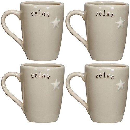 Relax - Stoneware Latte Coffee Tea Mug Set (4) front-597763