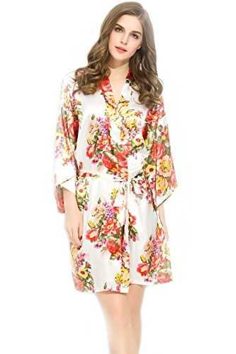 Bridesmaids Robes Floral Wedding Bride by Endless Envy (White)