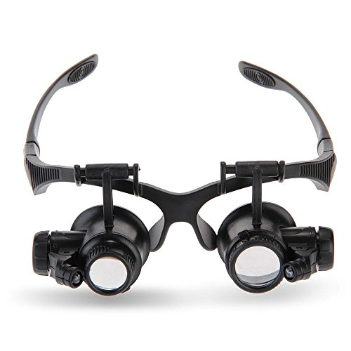 10X 15X 20X 25X Magnifier Magnifying Eye Glasses Loupe LED Jeweler Watch Repair