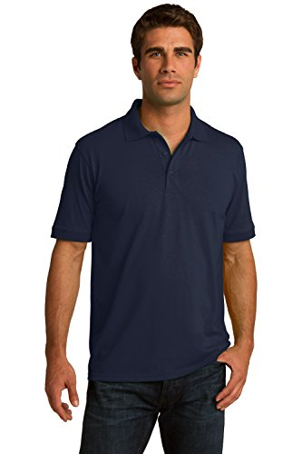 Sportoli Men's Cotton Blend Solid Everyday Uniform Short Sleeve Polo Shirt Top - Navy (Large)