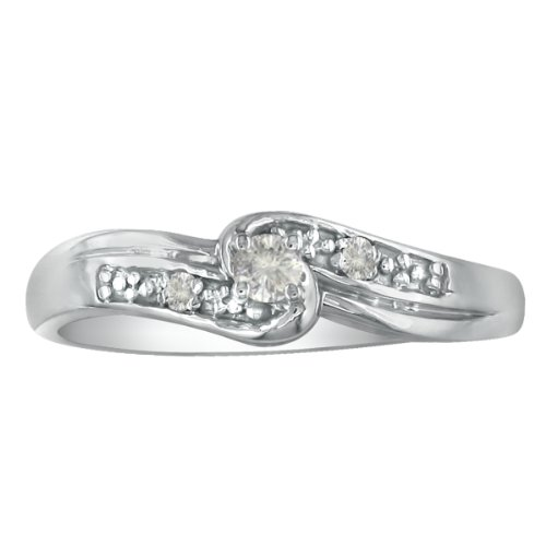 10K White Gold Diamond Promise Ring, Available Ring Sizes 4-10, Ring Size 7 (1/10ct tw.)