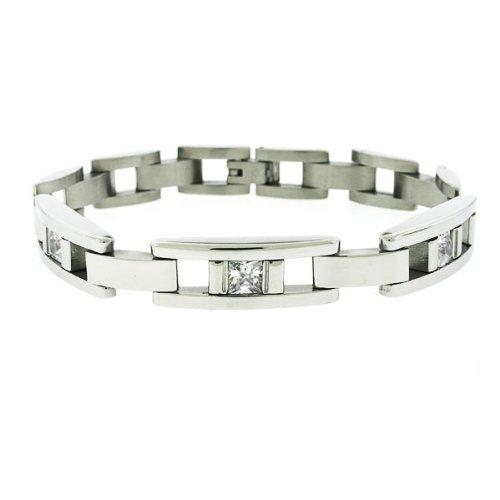 Stainless Steel with Princess CZ Bracelet 8.5
