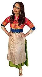 Clickedia Women's Straight Cut Off white Bhagalpuri Cotton Pallazo Style Salwar Suit - Dress Material