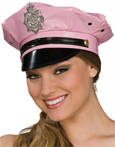 Deluxe Adult Sexy Pink Vinyl Police Hat with Badge