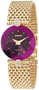 Jowissa Women's J5.016.M Facet Strass Gold PVD Dimensional Glass Purple Dial Rhinestone Watch