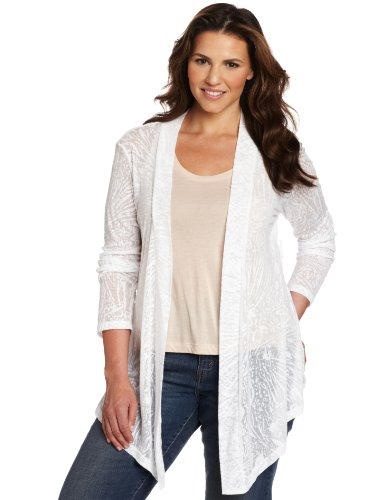 Pendleton Women's Plus Size Pauline Burnout Topper Shirt, White Burnout, 2X