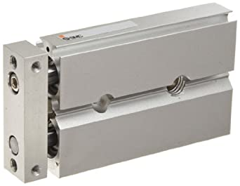 SMC CXSJ Series Aluminum Air Cylinder with Guide Rod Plate, Slide Bearing, Compact, Switch Ready, Cushioned