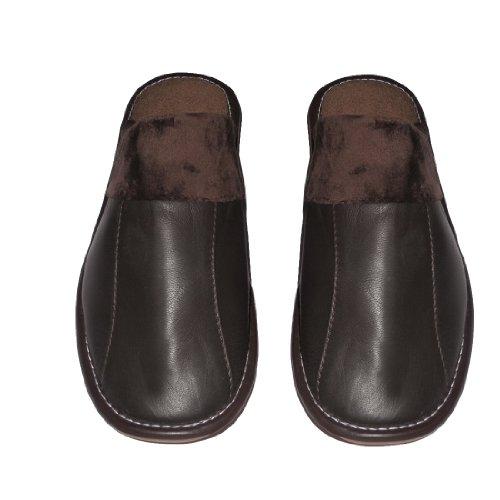 Herren Open Back Lounge / Pantoffel mit Leder-Toe und Gummi (Non Slip) Sole (Größe: US:7.5 EU:40.5 UK:6.5 )