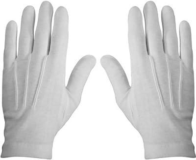 White and Black Cotton Gloves Per Pair (Med, White)
