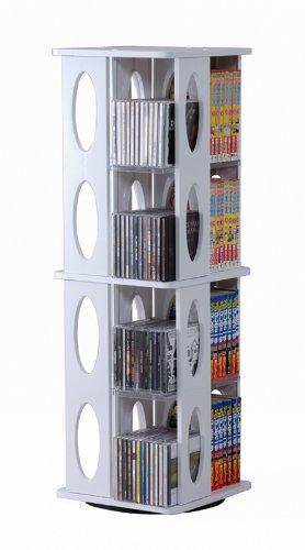 回転式CD/DVDタワーラック ホワイト(白)中容量モデル CD最大304枚収納 89cm高 コミック文庫本もOK