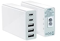 5-Port Multiple USB Charger Type C by Safewatts (White) - USB 2.0 Smartphone & Mobile Device Wall Charger for Tablets, Cell Phones & Google Chromebook - Smart IQ Quick Charge