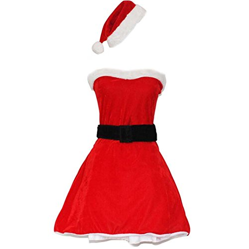 Black Temptation Women's Strapless Mrs Santa Christmas Costume