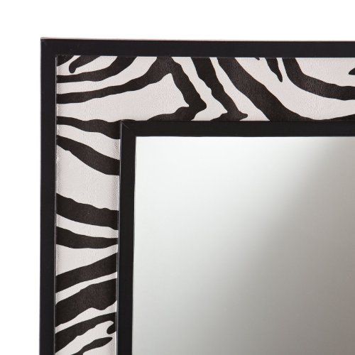 Zebra Print Faux Leather Mirror - 20W x 32H in.