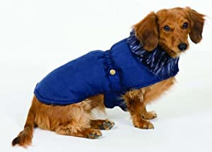 Fashion Pet Faux Fur Shearling Blanket Dog Coat, Navy, Small