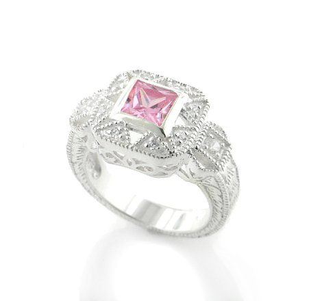Square Princess Cut Pink Ice and White CZ Sterling Silver Promise Ring Size 10(Sizes 5,6,7,8,9,10)