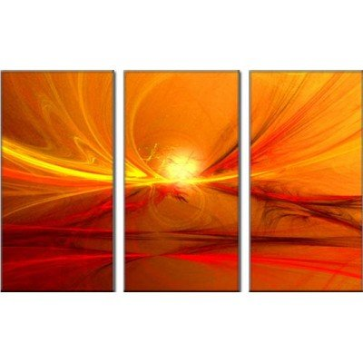 Sangu 100% Hand Painted 3-Piece Sunlights In Red And Orange Oil Paintings Canvas Wall Art For Home Decoration