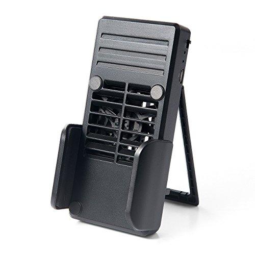 イーサプライ 冷却クーラー スマホ 用 ファン付 スタンド付 1000mAhバッテリー内蔵 スマホ充電機能付 EZ4-CLN023