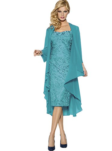 Belle House Lace Chiffon Tea Length Gown Mother Of The Bride Dresses Hunter