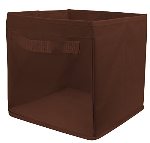 EasyView-Storage-Cube-with-Handle-100-Woven-Oxford-Nylon-Bin-with-Mesh-See-Thru-Side-105-x-105-x-10-Inches-Foldable-White-Brown-and-Grey
