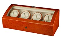 Burlwood Eight Watch Winder with Extra Storage For Automatic Watch with Program Timer Burl Wood Finish