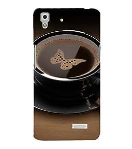 PrintVisa Coffee Butterfly Design 3D Hard Polycarbonate Designer Back Case Cover for Oppo R7