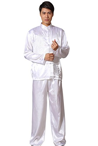 AvaCostume Men's Satin Embroidery Chinese Dragon Kung Fu Tai Chi Uniform Outfit