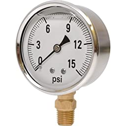 Valley Instrument 2 1/2in. Stainless Steel Glycerin Gauge - 0-15 PSI