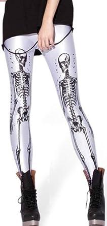Pink Wind Women Rock X-ray Skeleton Bone Skull Leggings Tights Black