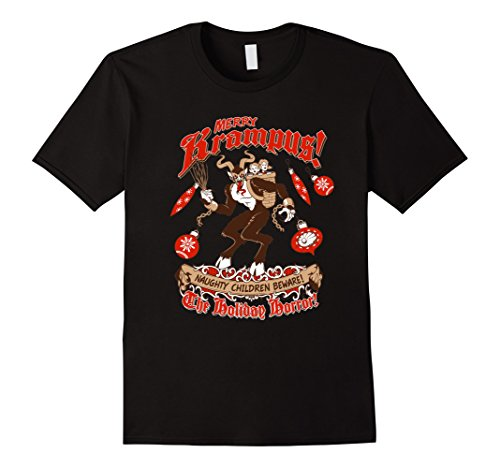 Men's Merry Krampus T-Shirt For Women Men Boys Holiday Gift Tees XL Black