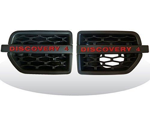 Land Rover Discovery 4LR4Seite Wing Belüftungsöffnungen matt schwarz mit rot Beschriftung 2010auf