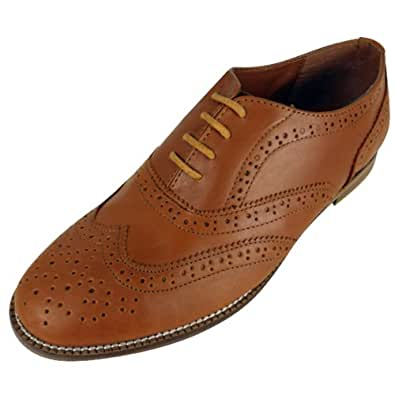 Womens Tan Brown Leather Classic Brogues Brogue Shoes 9