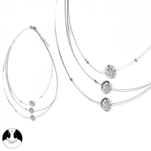 sg paris women necklace necklace 3 rows 40/48cm+ext rhodium crystal glass