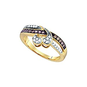 10kt Yellow Gold Womens Round Cognac-Brown Colored Diamond Heart Love Fashion Ring (.25 cttw.)