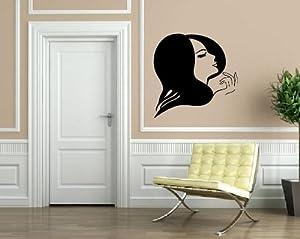 Classy Beautiful Woman Short Hair Style Beauty Salon Decor Wall Mural Vinyl Decal