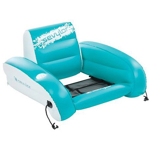 Outdoor Inflatable Swimming Pool Chair/Float Heavy-Duty Pvc Cup Holder Blue front-895807
