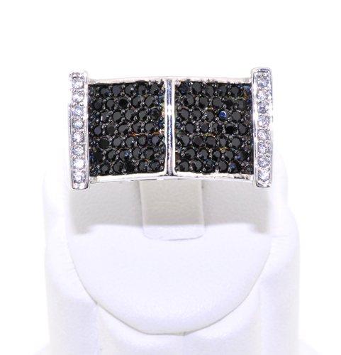 Sterling Silver Rectangular Black/White CZ Men's Ring