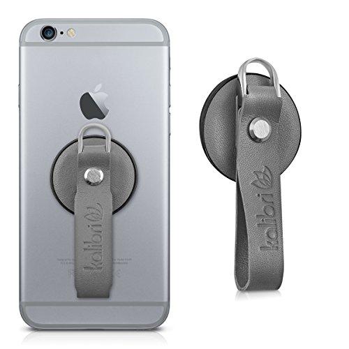 kalibri-Finger-Halterung-fr-Smartphones-in-Grau-Echtleder-Fingerschlaufe-zB-geeignet-fr-iPhone-6-Plus-Samsung-Galaxy-S7-etc