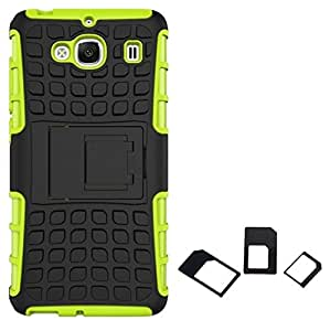 Ceres Tough Hybrid Armor Back Cover Case with Kickstand for XiaoMi RedMi 2 Prime with Multi Sim Adapter (Green)