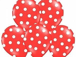 budila 10 grosse luftballons rot mit weissen punkten ca. Black Bedroom Furniture Sets. Home Design Ideas