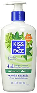 Kiss My Face Moisture Shave Natural Shaving Cream, Green Tea & Bamboo Shaving Soap, 11 Ounce