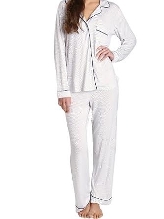Eberjey Women's Sleep Chic PJ Set Small Ivory/Navy