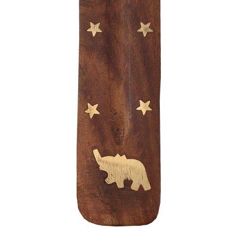 Incensario de madera tallada con diseño de barca en el/diseño en forma de quemador de esencias de fresno restos de papel y no/bandeja de madera con mosaico - de animales de la selva