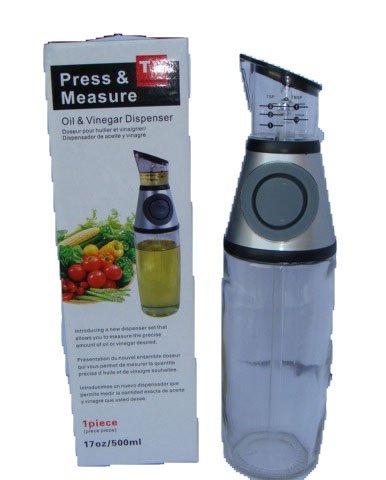 ScivoKaval Oil Dispenser with Press and Measure Non Spill Spout 17 Ounce Vinegar Dispenser Glass Bottle